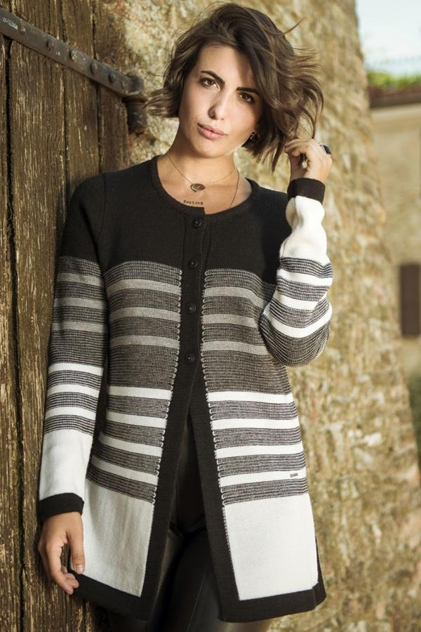 Cardigan donna Righe Multicolor Nelly quattro bottoni